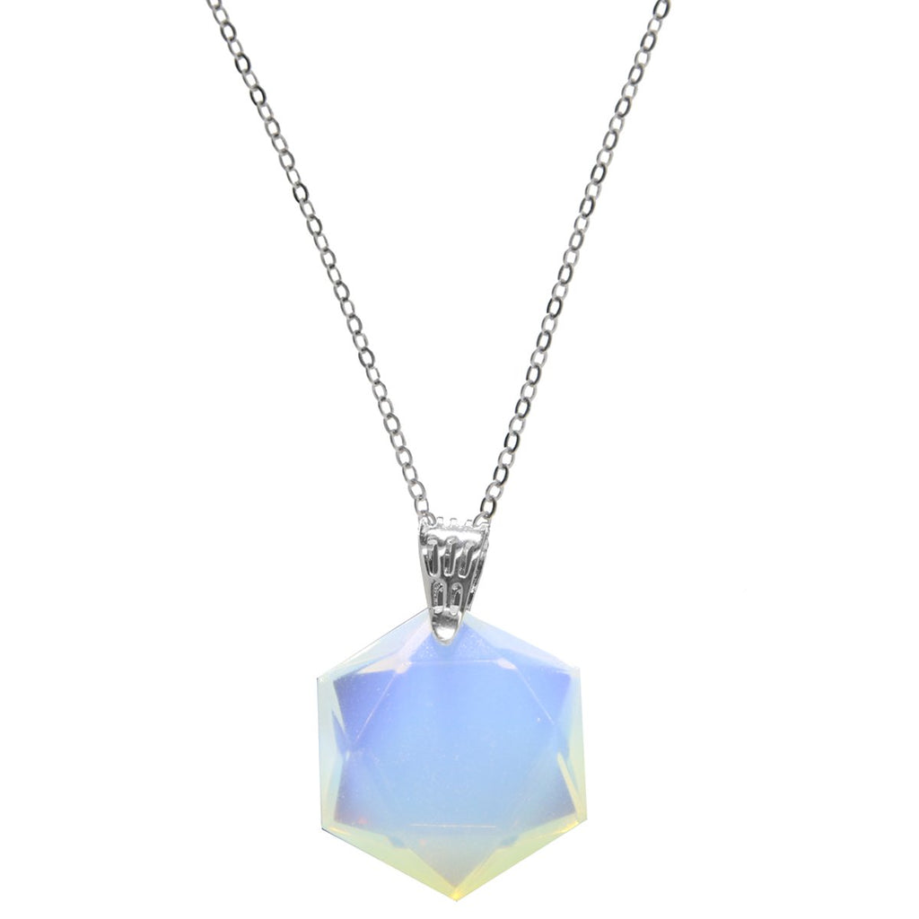 Cleo Crystal Necklace - White Opal Hexagon