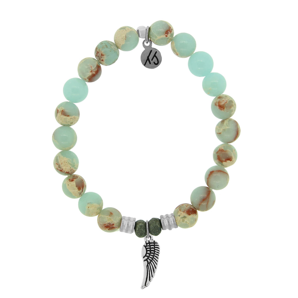 Desert Jasper Stone Bracelet with Angel Wing Sterling Silver Charm