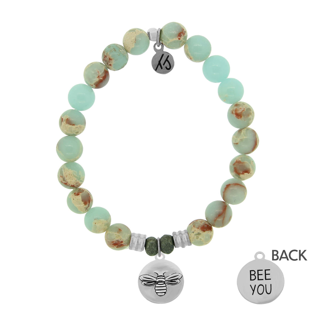 Desert Jasper Stone Bracelet with Bee You Sterling Silver Charm