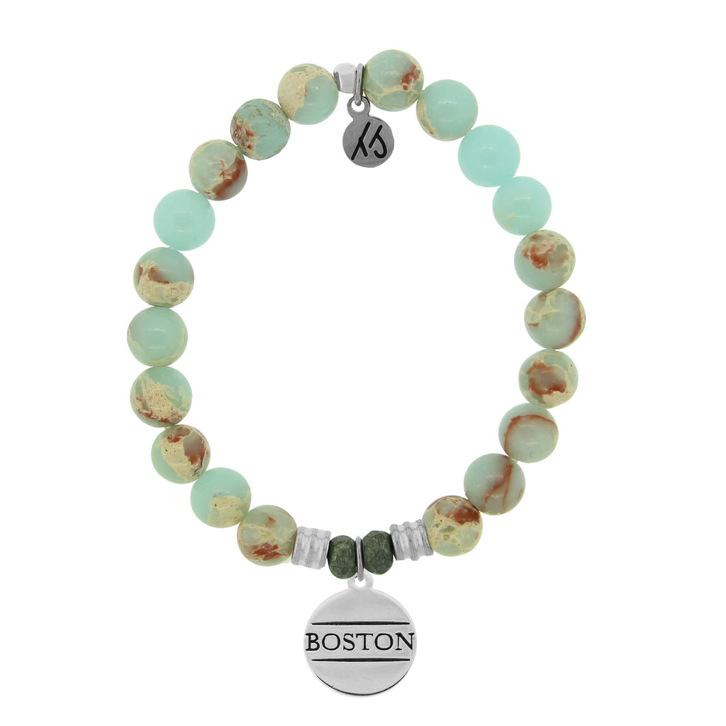 Desert Jasper Stone Bracelet with Boston Sterling Silver Charm