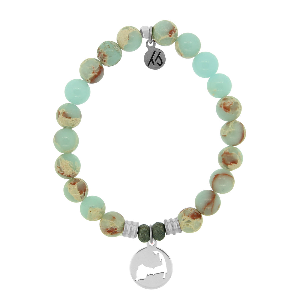 Desert Jasper Stone Bracelet with Cape Cod Cutout Sterling Silver Charm