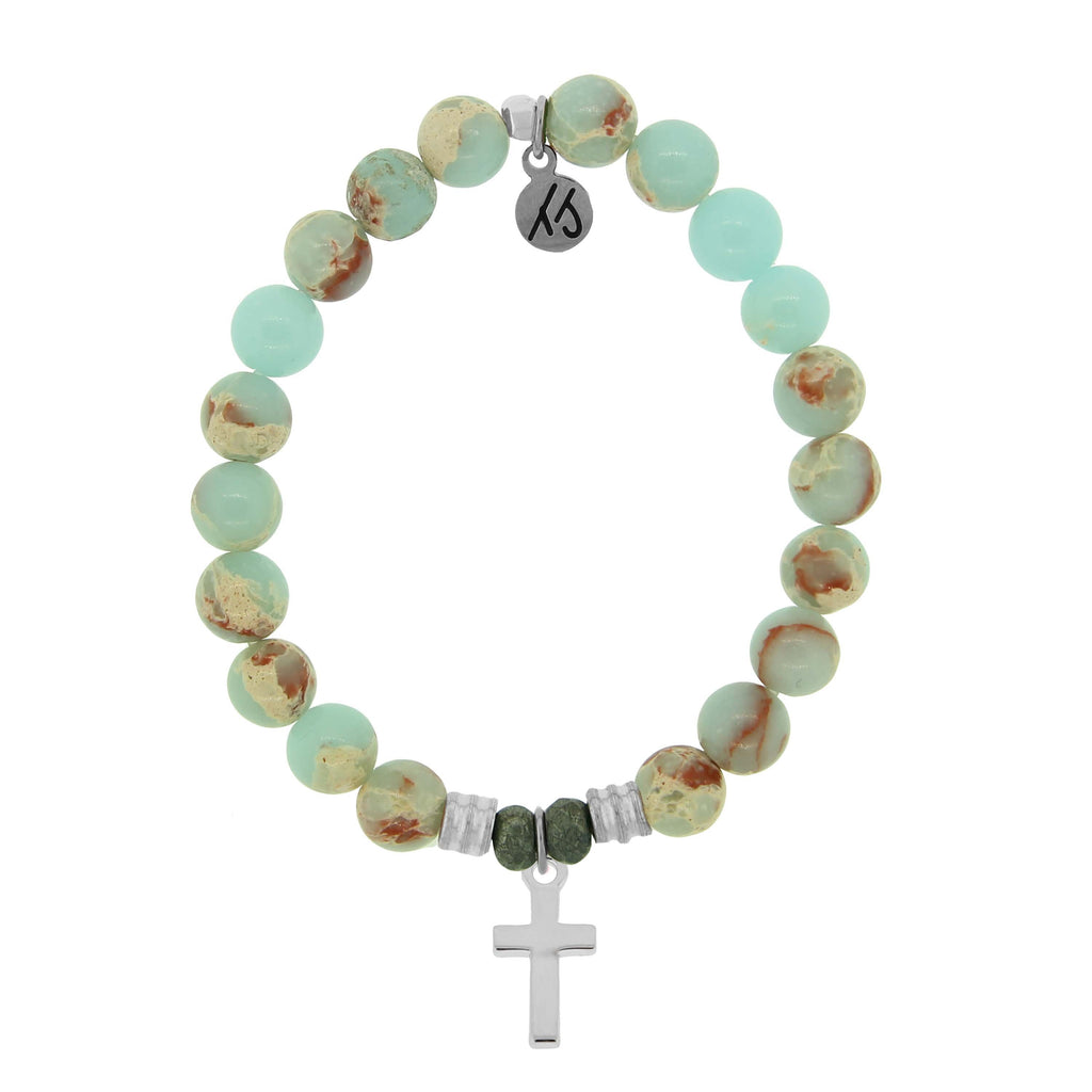 Desert Jasper Stone Bracelet with Cross Sterling Silver Charm