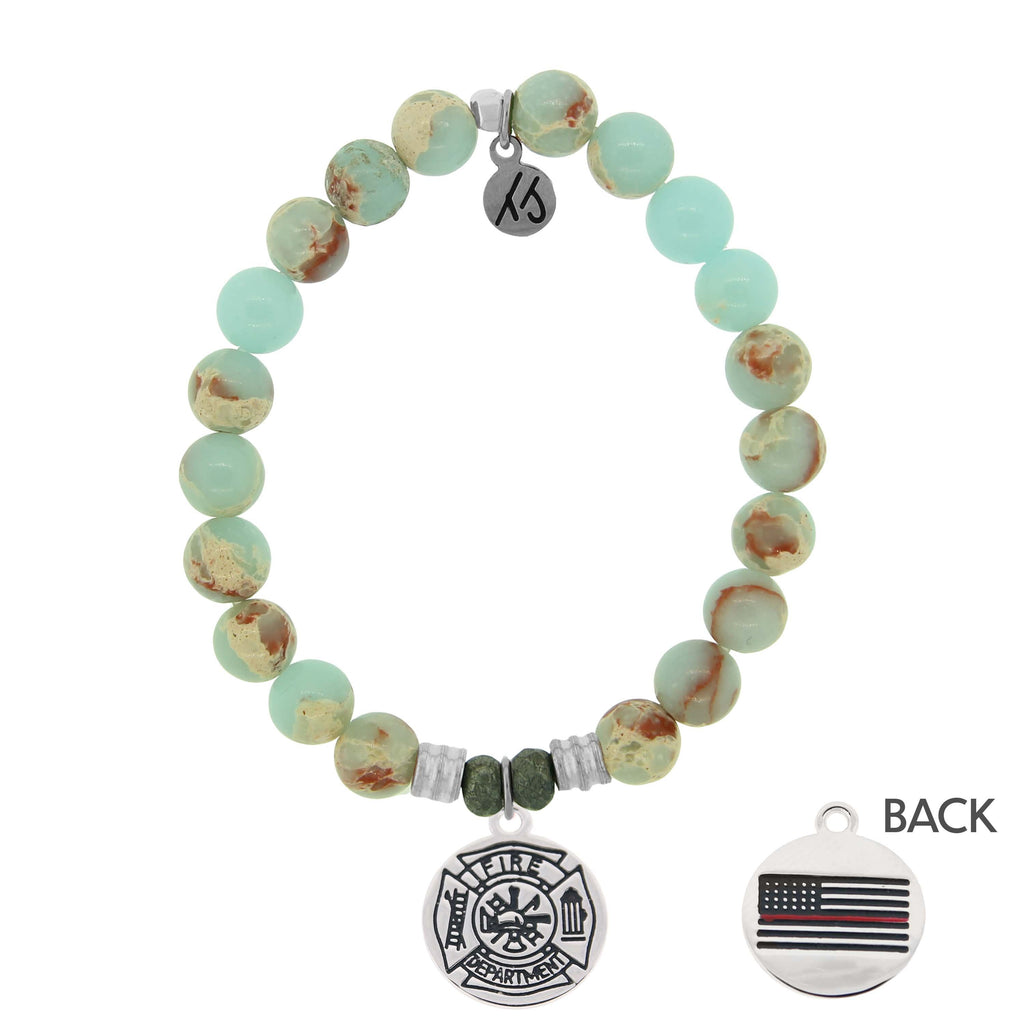 Desert Jasper Stone Bracelet with Firefighter Sterling Silver Charm