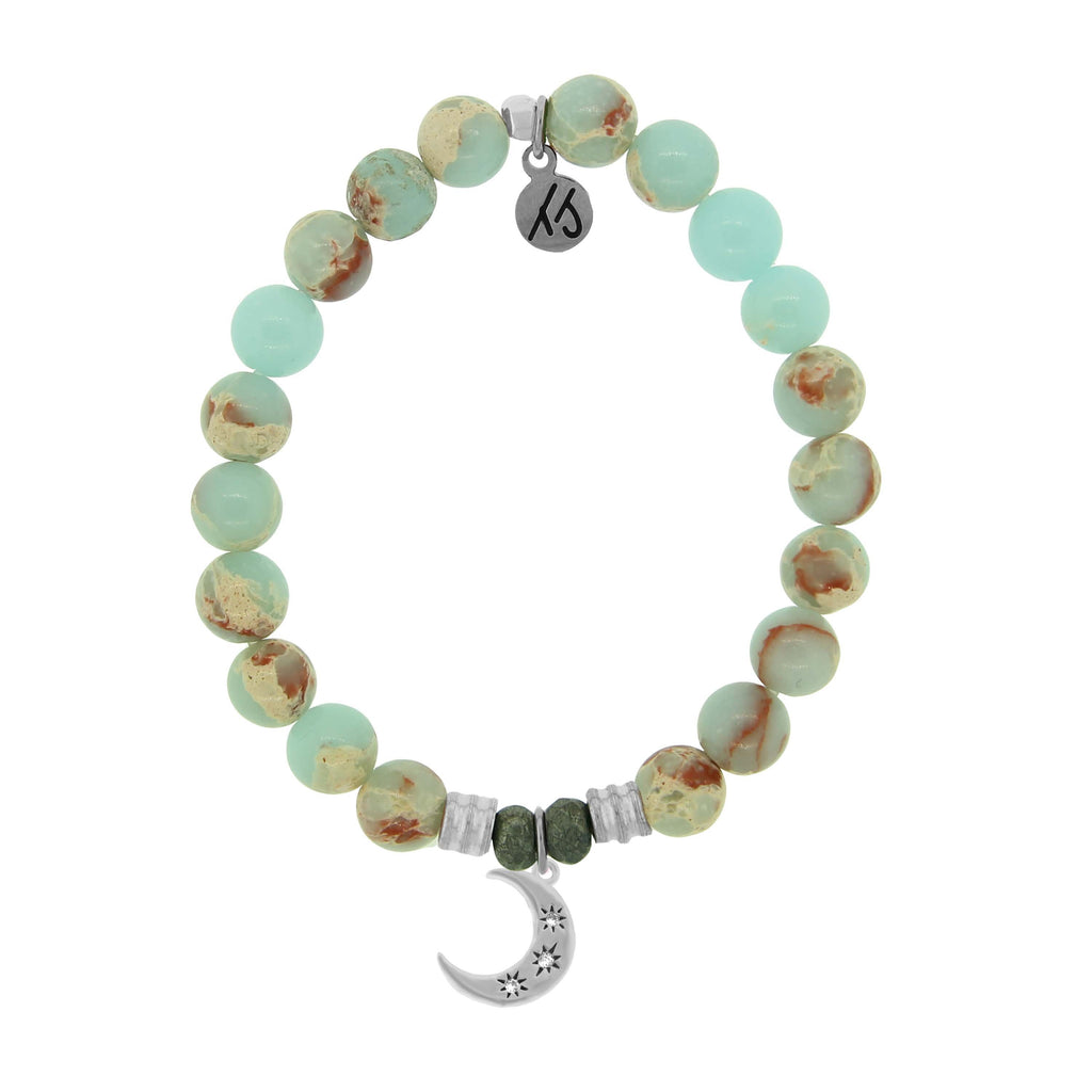 Desert Jasper Stone Bracelet with Friendship Stars Sterling Silver Charm