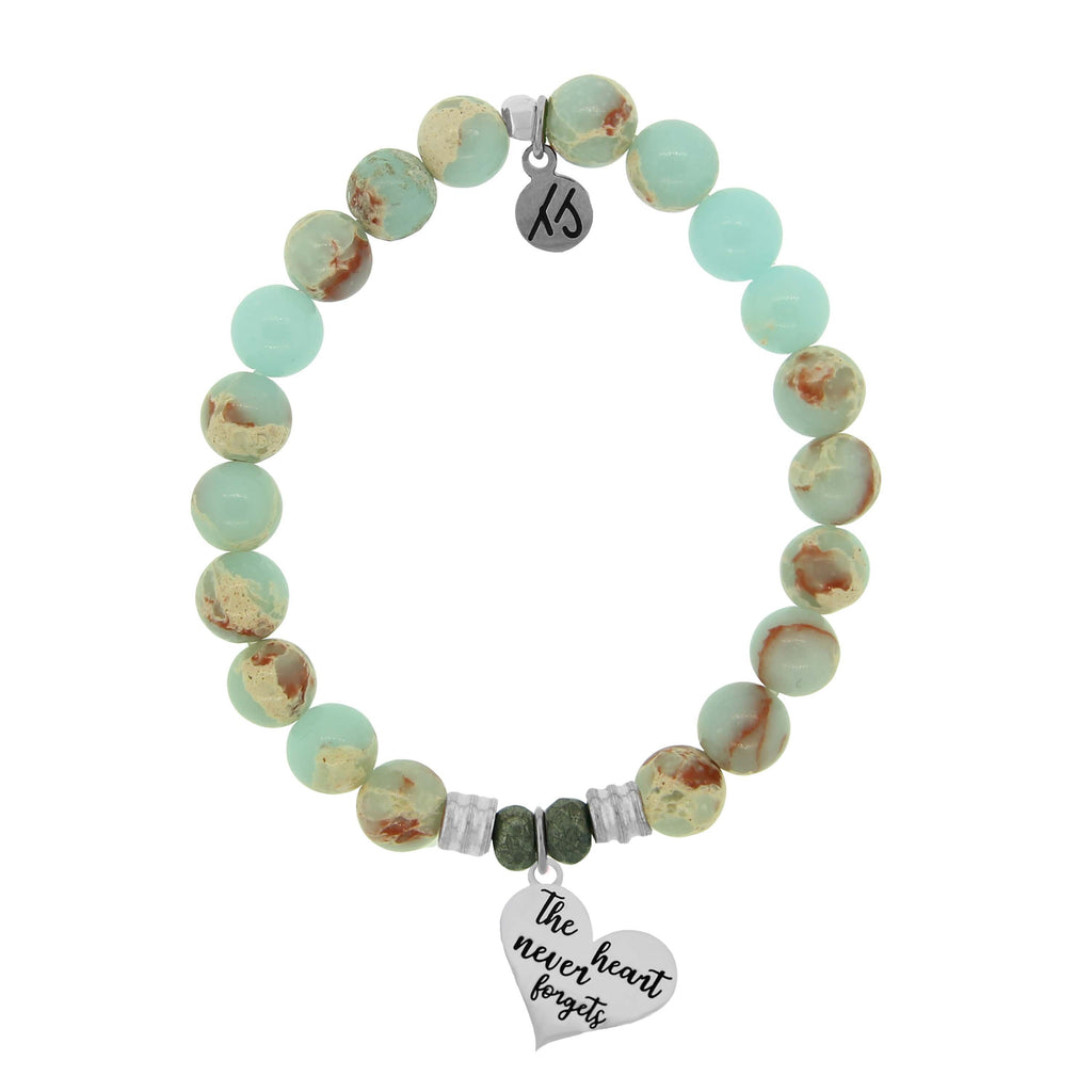 Desert Jasper Stone Bracelet with Heart Never Forgets Sterling Silver Charm