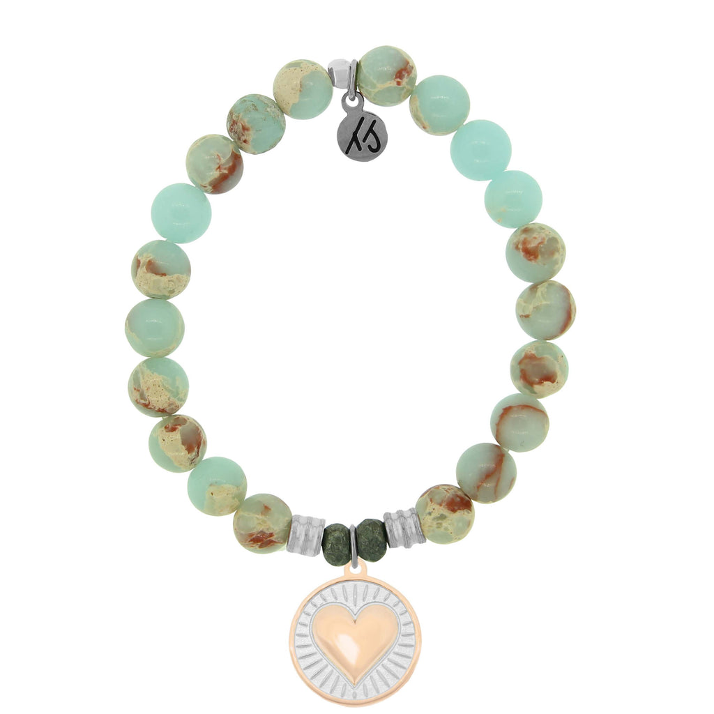 Desert Jasper Stone Bracelet with Heart of Gold Sterling Silver Charm