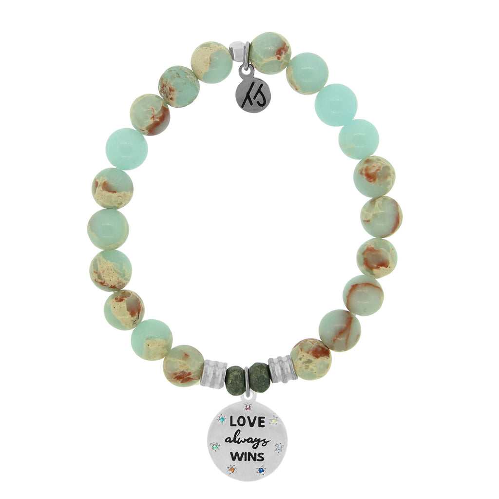 Desert Jasper Stone Bracelet with Love Always Wins Sterling Silver Charm