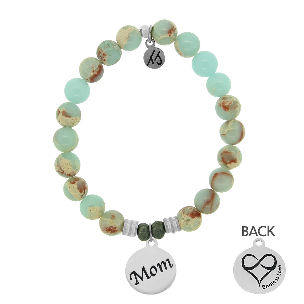 Desert Jasper Stone Bracelet with Mom Endless Love Sterling Silver Charm