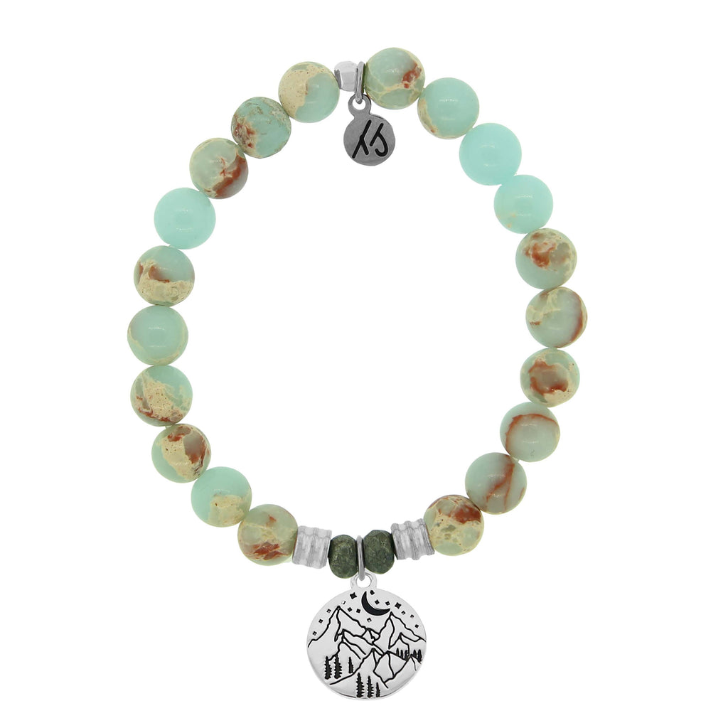 Desert Jasper Stone Bracelet with Mountain Sterling Silver Charm