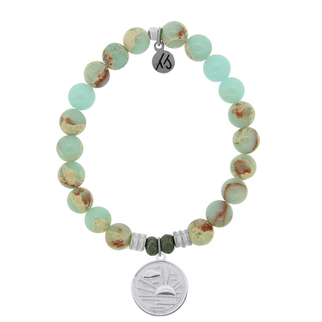 Desert Jasper Stone Bracelet with New Day Sterling Silver Charm