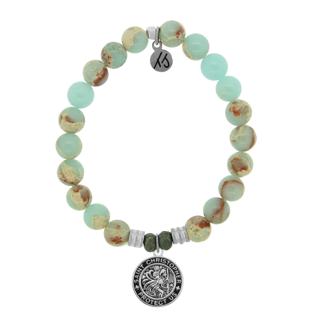Desert Jasper Stone Bracelet with New Saint Christopher Sterling Silver Charm