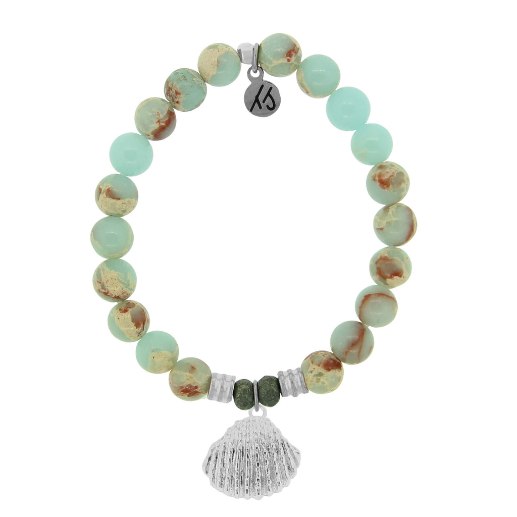 Desert Jasper Stone Bracelet with Sea Shell Sterling Silver Charm