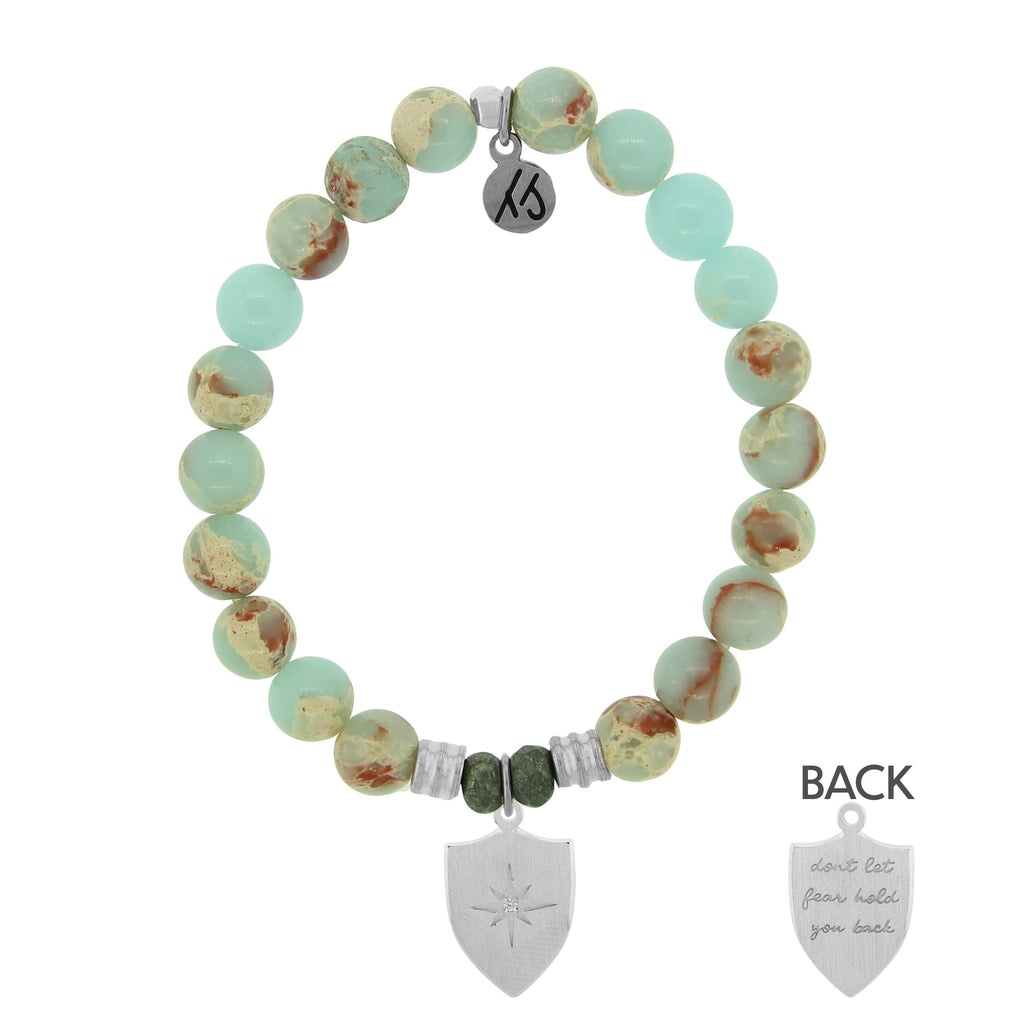 Desert Jasper Stone Bracelet with Shield of Strength Sterling Silver Charm