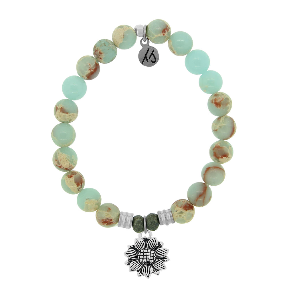 Desert Jasper Stone Bracelet with Sunflower Sterling Silver Charm
