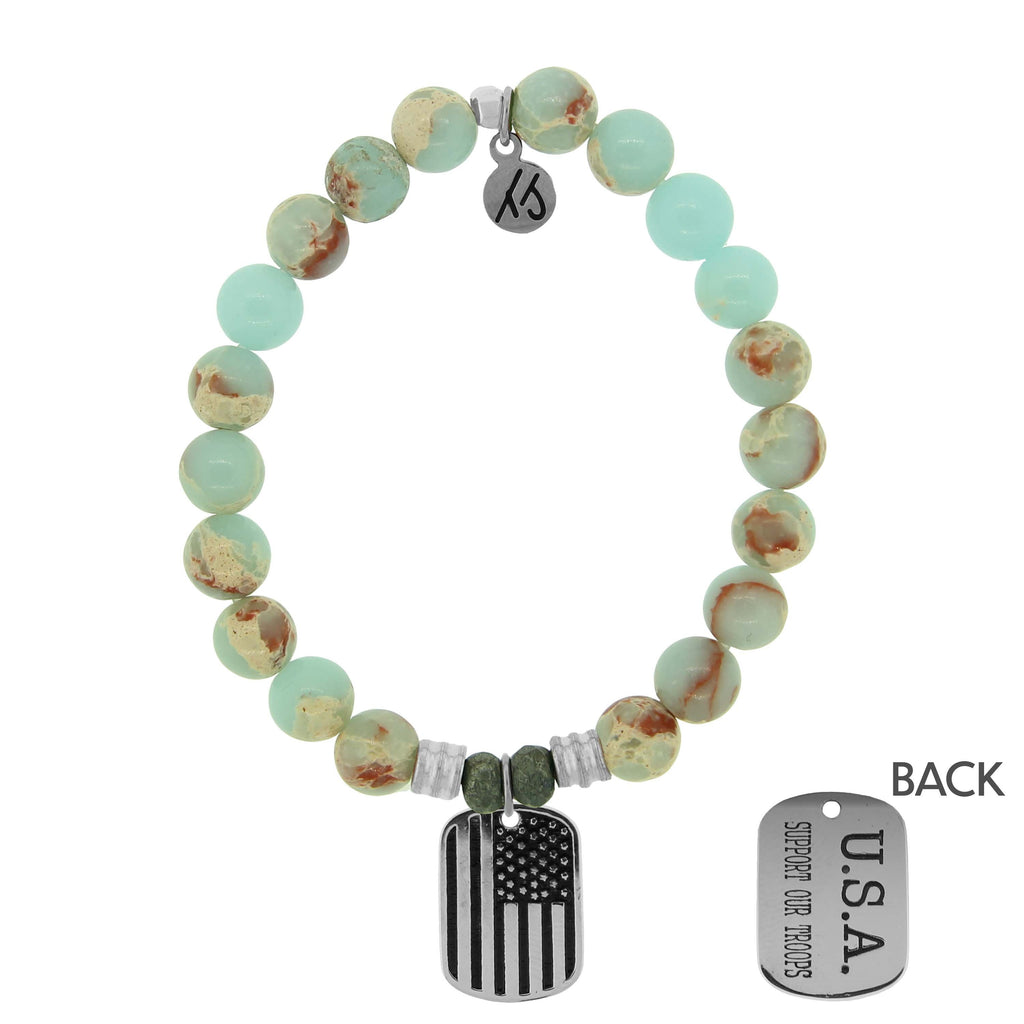 Desert Jasper Stone Bracelet with Support Our Troops Sterling Silver Charm