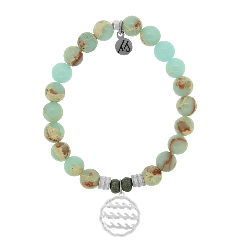 Desert Jasper Stone Bracelet with Waves of Life Sterling Silver Charm