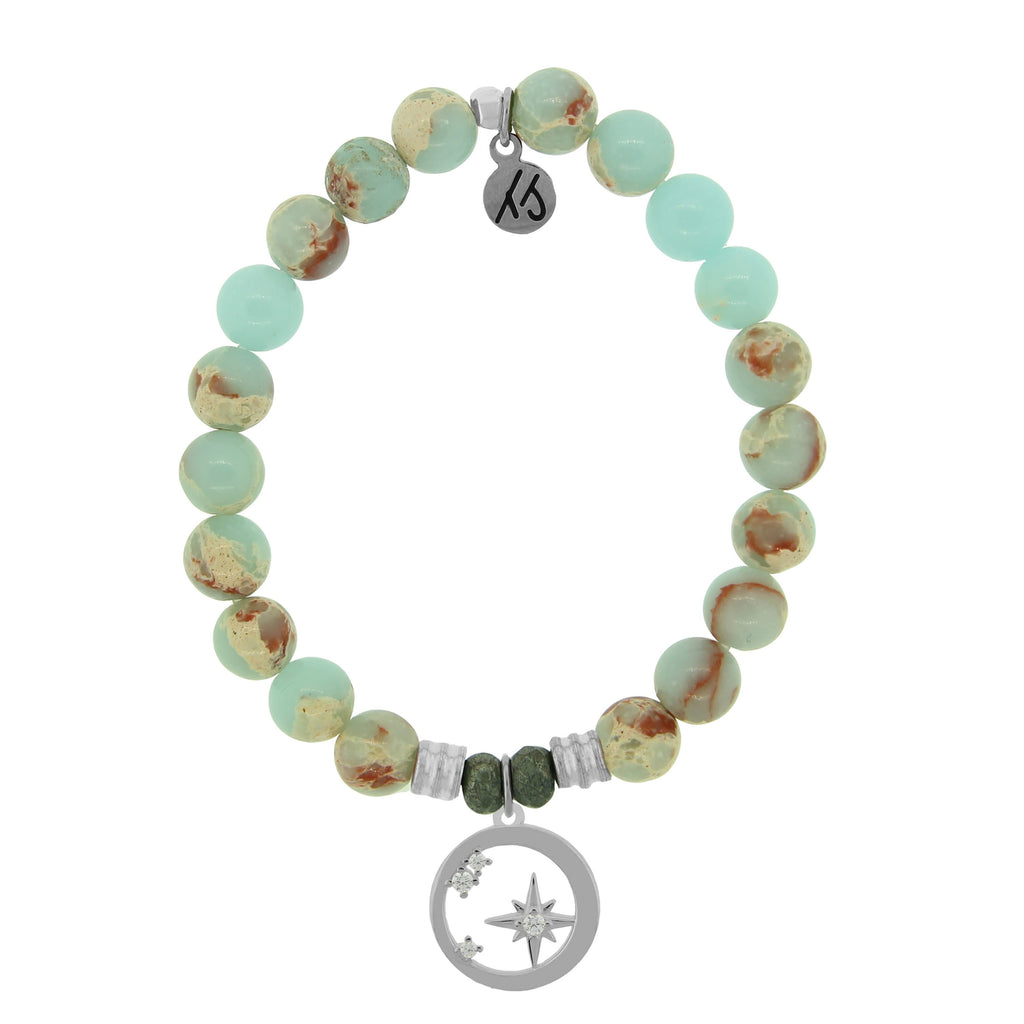 Desert Jasper Stone Bracelet with What is Meant to Be Sterling Silver Charm