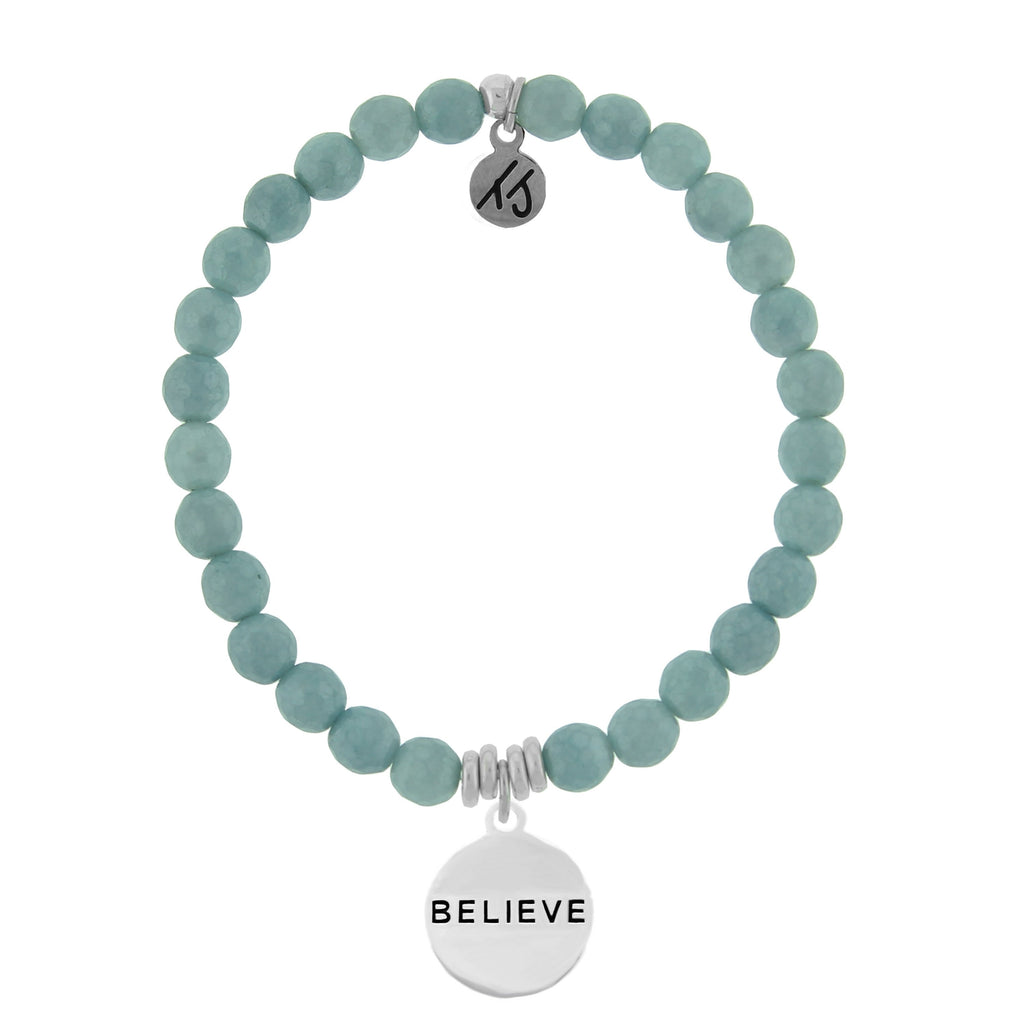 Dreamer Collection-Blue Quartzite Stone Bracelet with Believe Sterling Silver Charm
