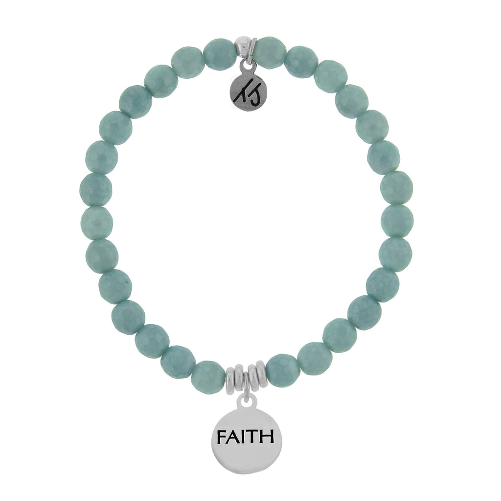Dreamer Collection-Blue Quartzite Stone Bracelet with Faith Sterling Silver Charm
