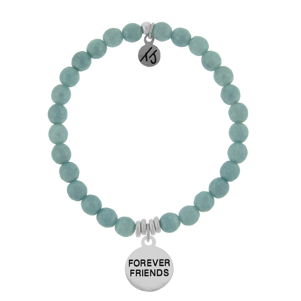 Dreamer Collection-Blue Quartzite Stone Bracelet with Forever Friends Sterling Silver Charm