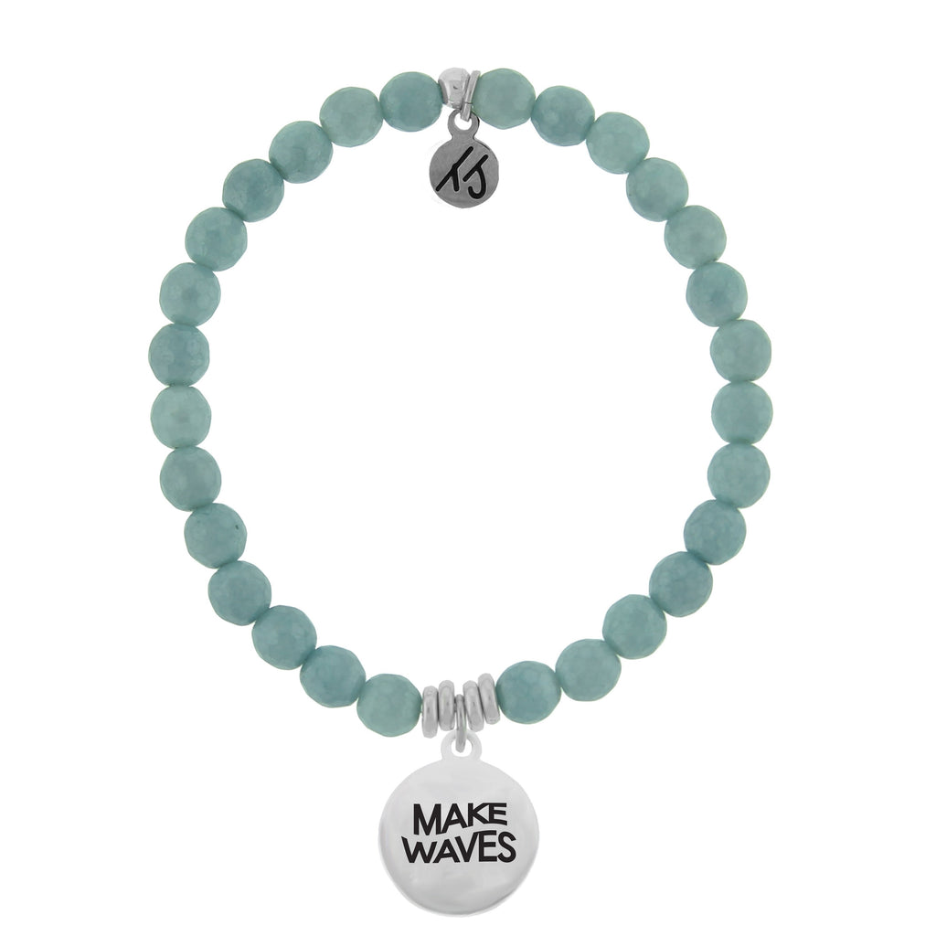Dreamer Collection-Blue Quartzite Stone Bracelet with Make Waves Sterling Silver Charm
