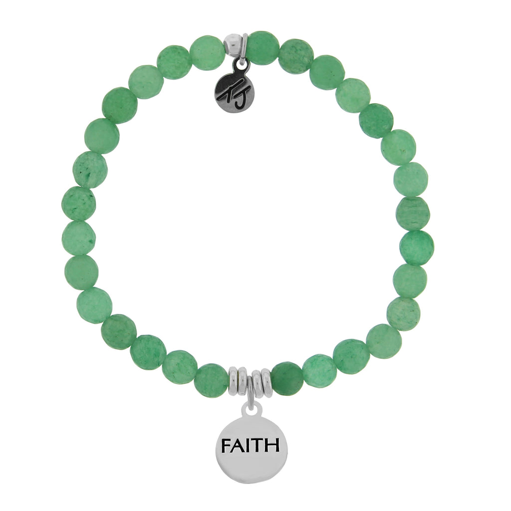Dreamer Collection - Green Aventurine Stone Bracelet with Faith Sterling Silver Charm