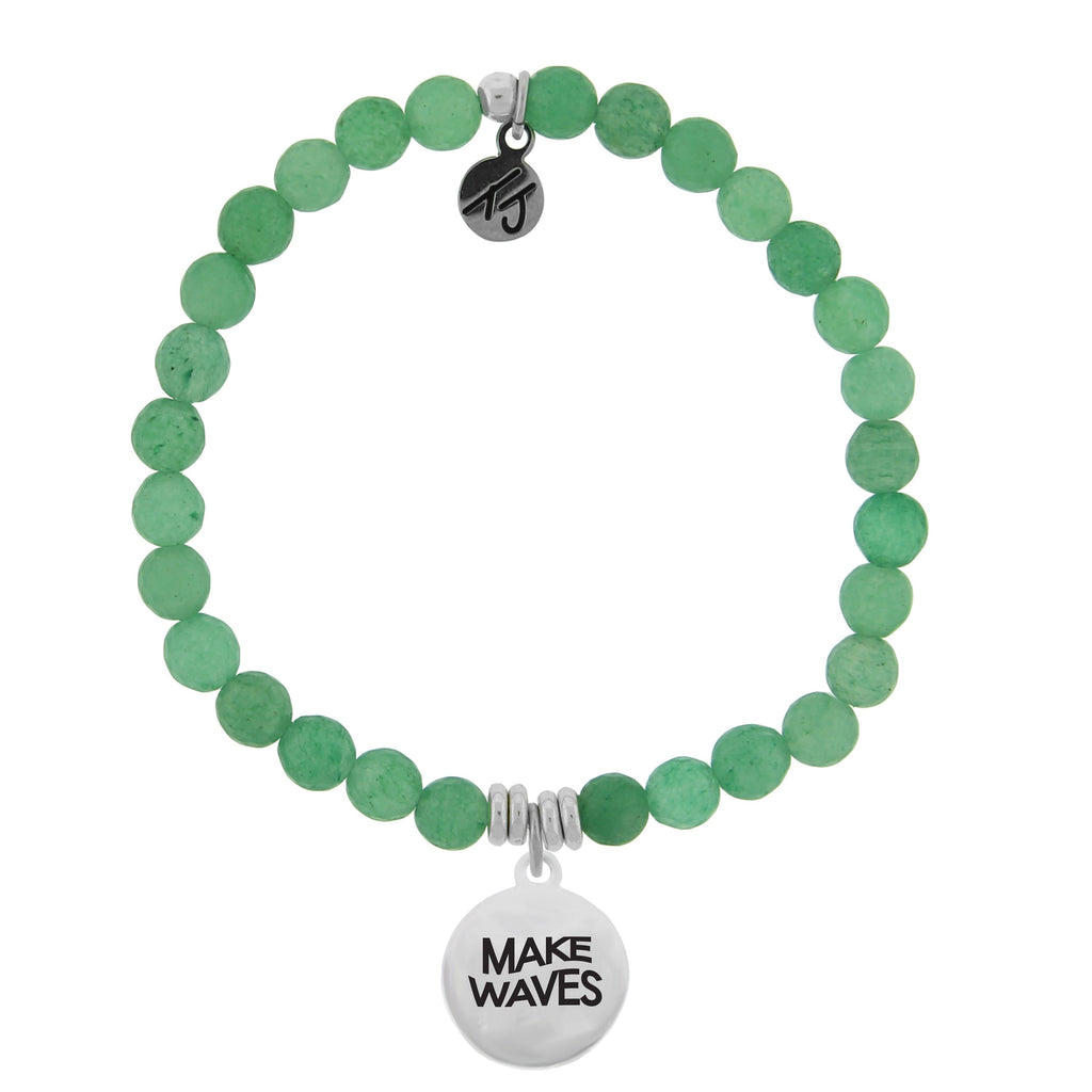 Dreamer Collection - Green Aventurine Stone Bracelet with Make Waves Sterling Silver Charm