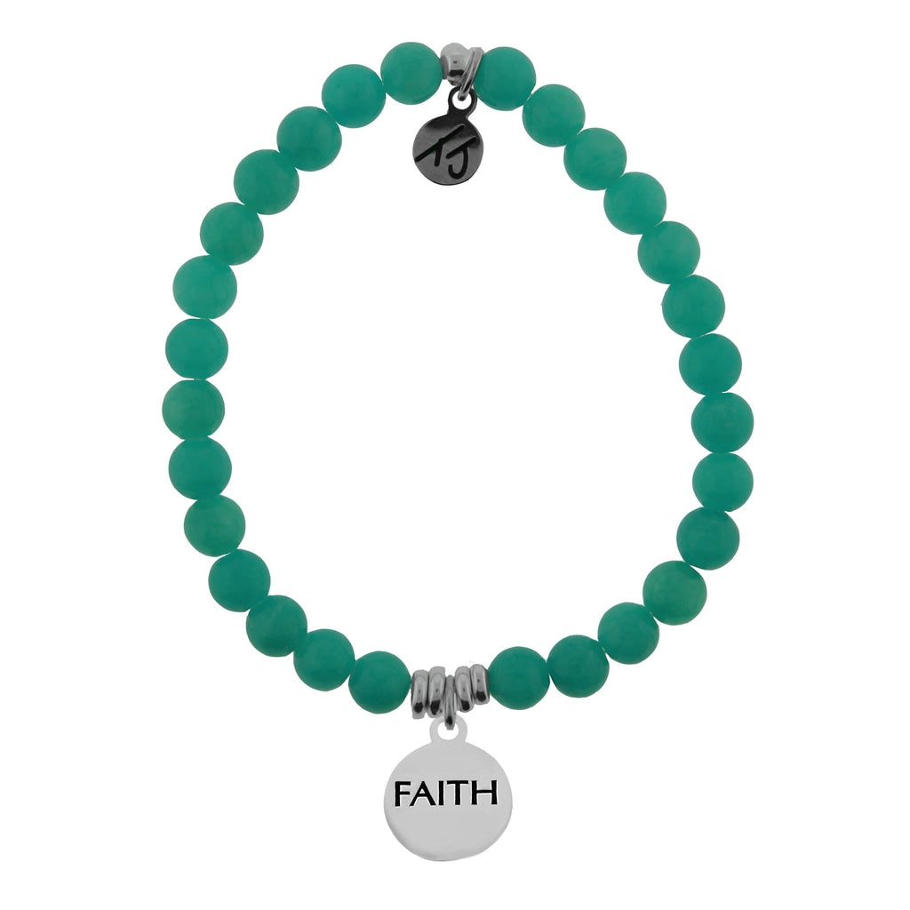 Dreamer Collection- Teal Jade Stone Bracelet with Faith Sterling Silver Charm