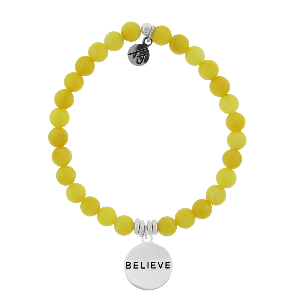 Dreamer Collection-Yellow Jade Stone Bracelet with Believe Sterling Silver Charm
