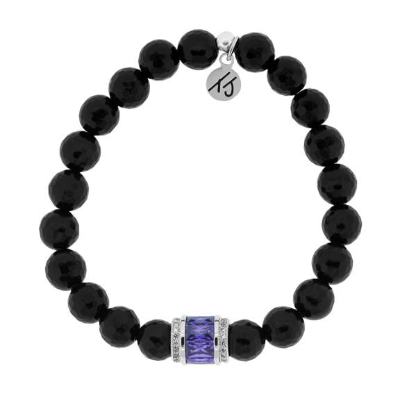 Elegance Collection - Onyx Stone Bracelet with Amethyst Crystal
