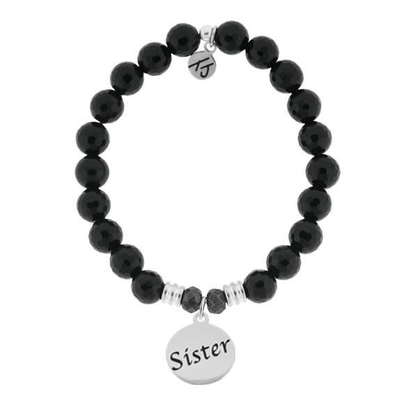 Endless Love-Onyx Stone Bracelet with Sister Sterling Silver Charm