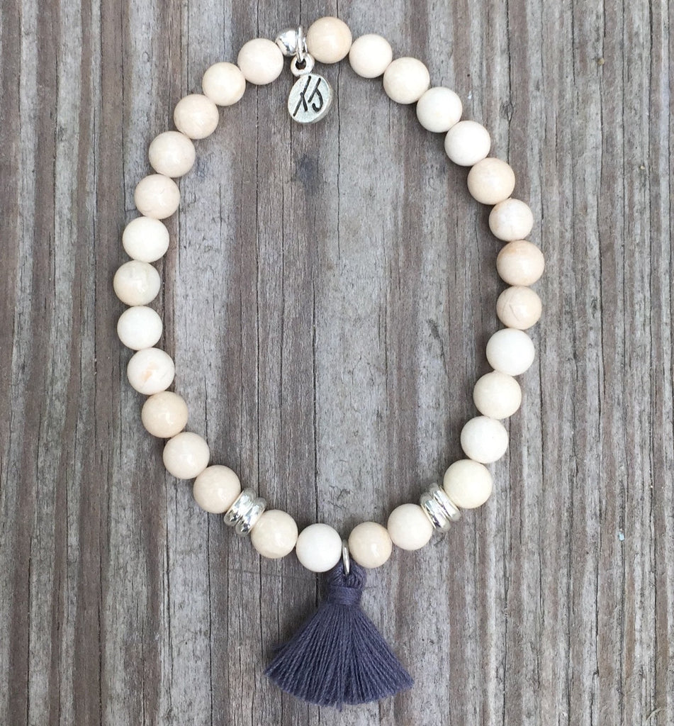 Free Spirit Riverstone bracelet with Charcoal Tassel