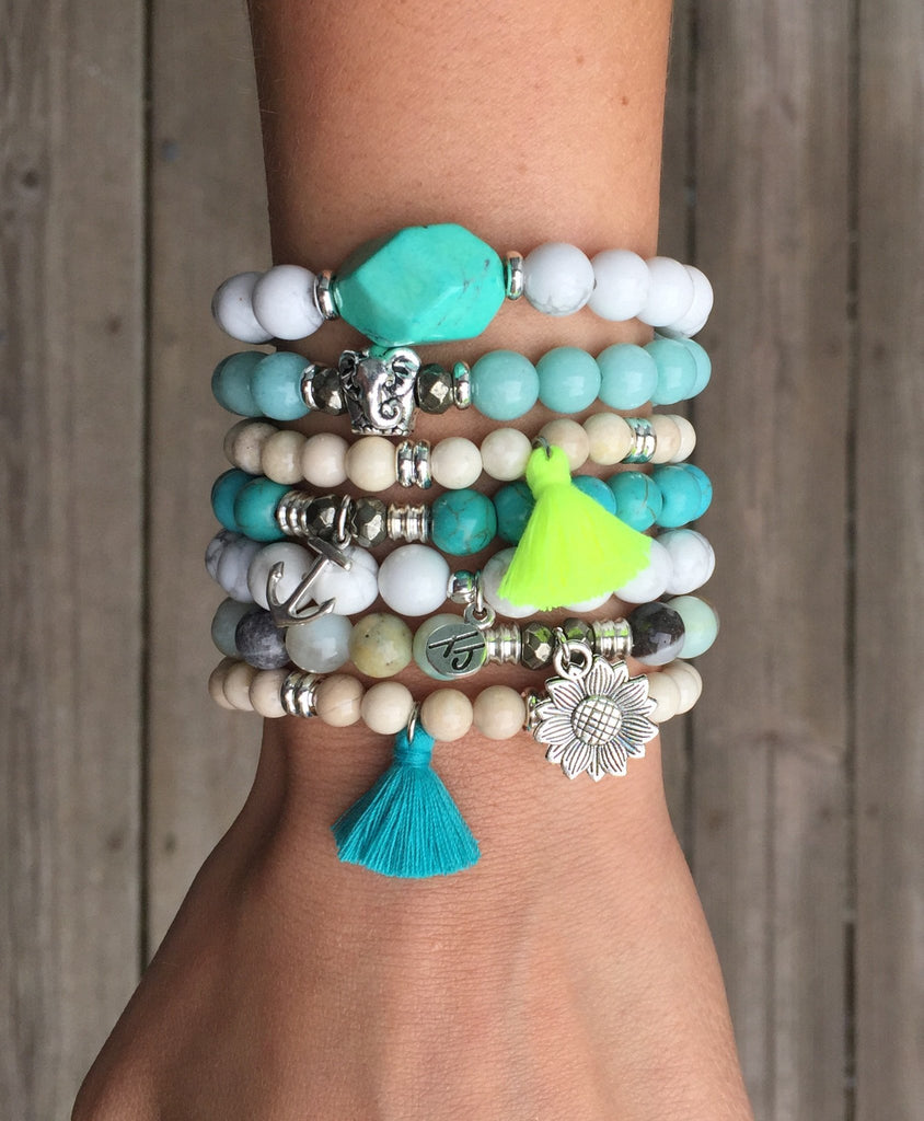 Free Spirit Riverstone bracelet with Turquoise Tassel