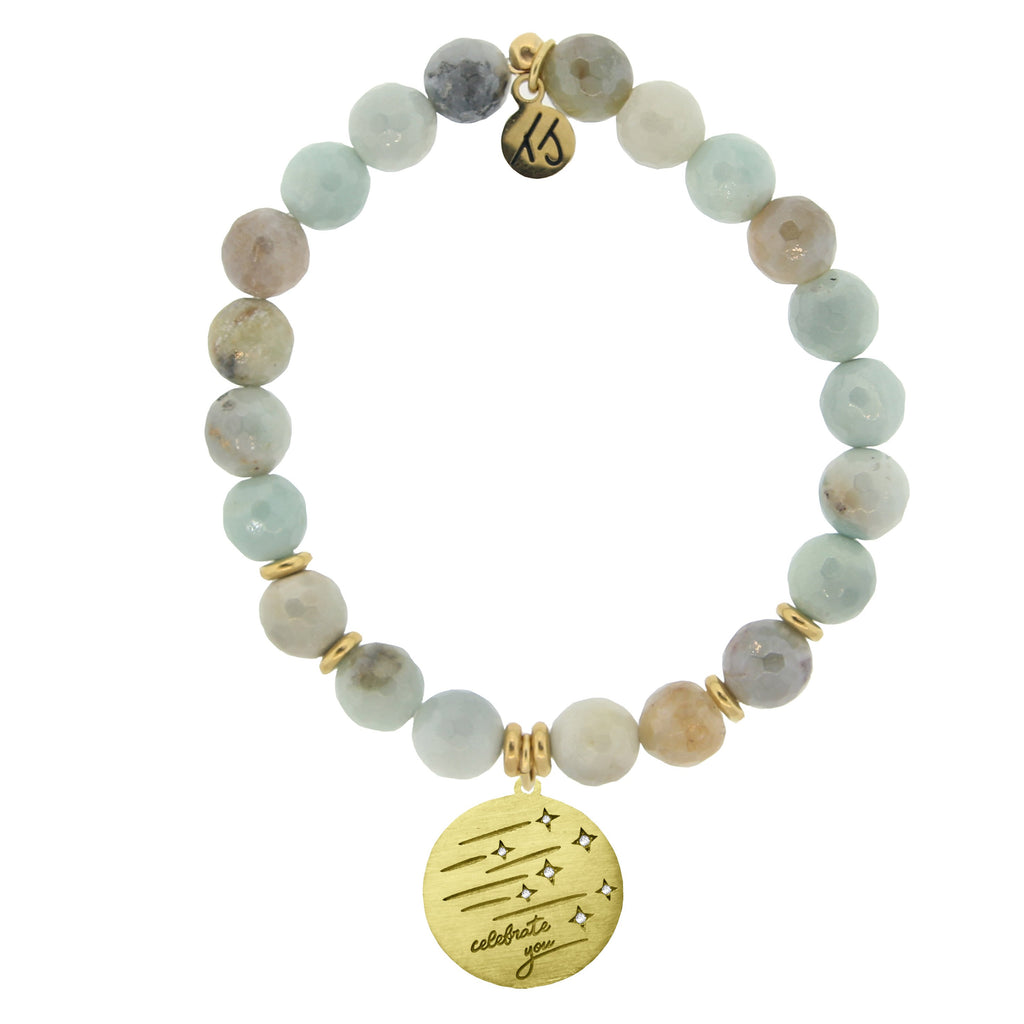 Gold Collection - Amazonite Stone Bracelet with Birthday Wishes Gold Charm