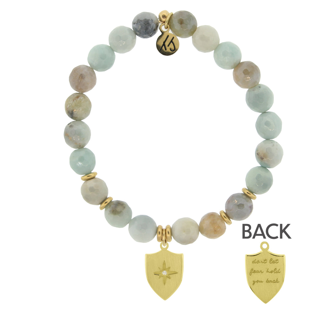 Gold Collection - Amazonite Stone Bracelet with Shield of Strength Gold Charm