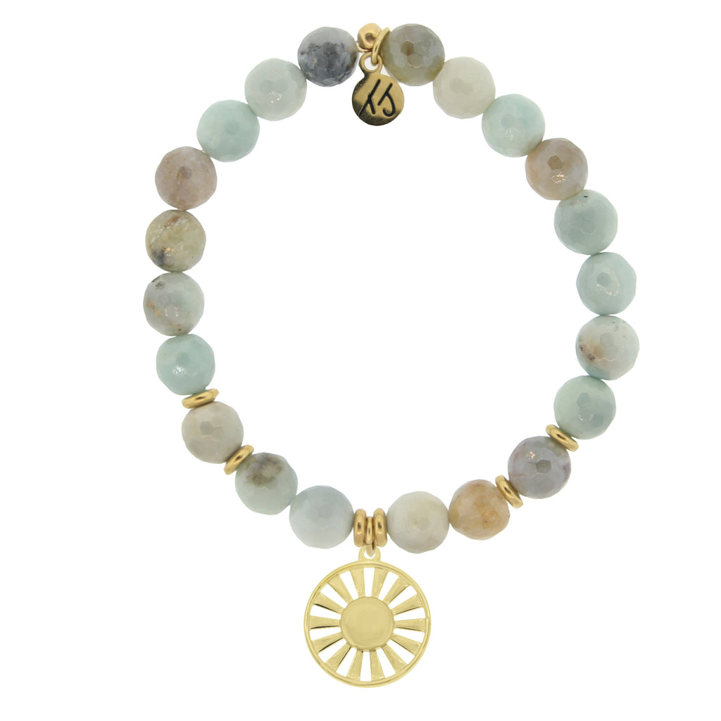 Gold Collection - Amazonite Stone Bracelet with Sun Gold Charm