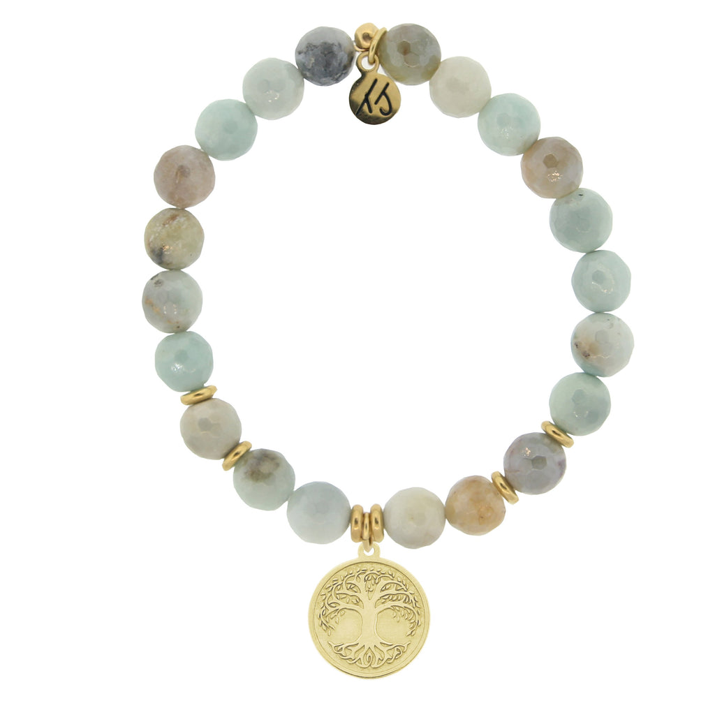 Gold Collection - Amazonite Stone Bracelet with Tree of Life Gold Charm