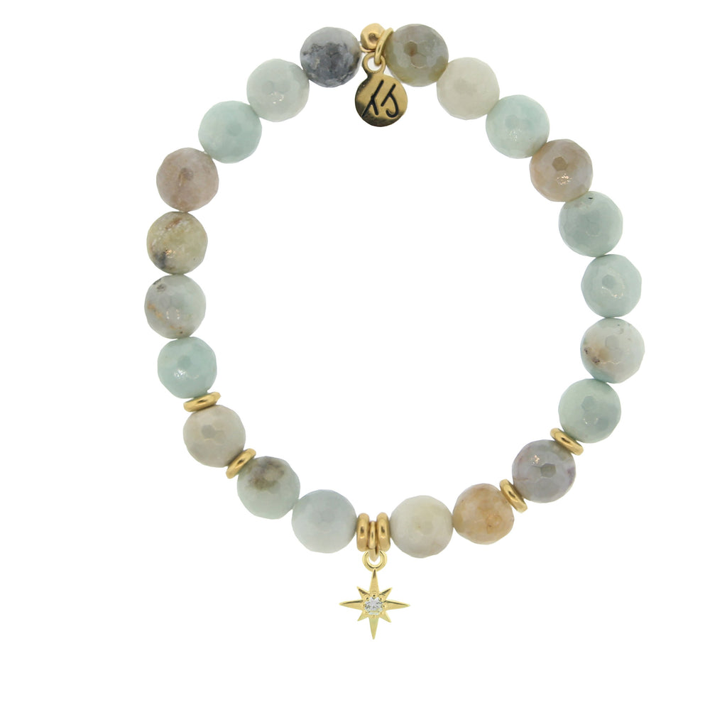 Gold Collection - Amazonite Stone Bracelet with Your Year Gold Charm