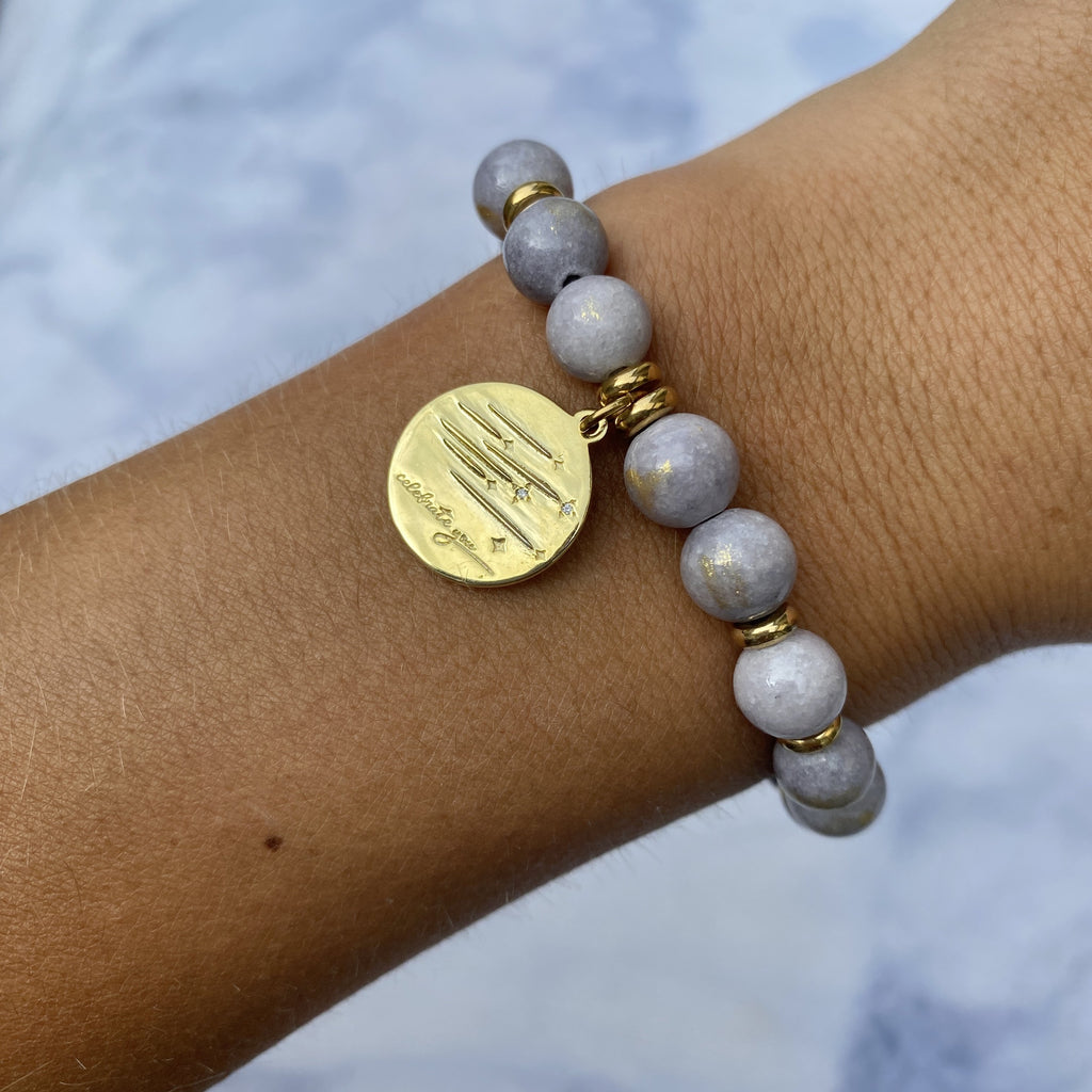 Gold Collection - Golden Grey Jade Stone Bracelet with Birthday Wishes Gold Charm