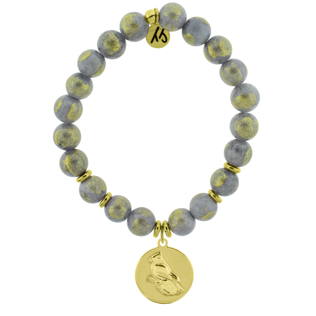 Gold Collection - Golden Grey Jade Stone Bracelet with Cardinal Gold Charm
