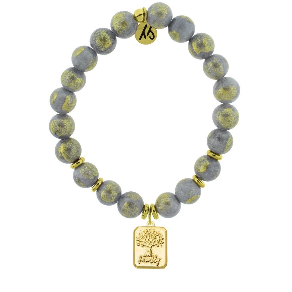 Gold Collection - Golden Grey Jade Stone Bracelet with Family Tree Gold Charm
