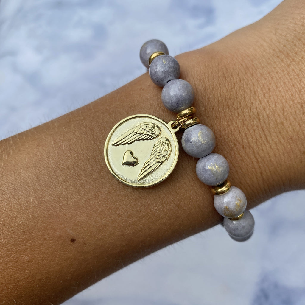 Gold Collection - Golden Grey Jade Stone Bracelet with Guardian Gold Charm