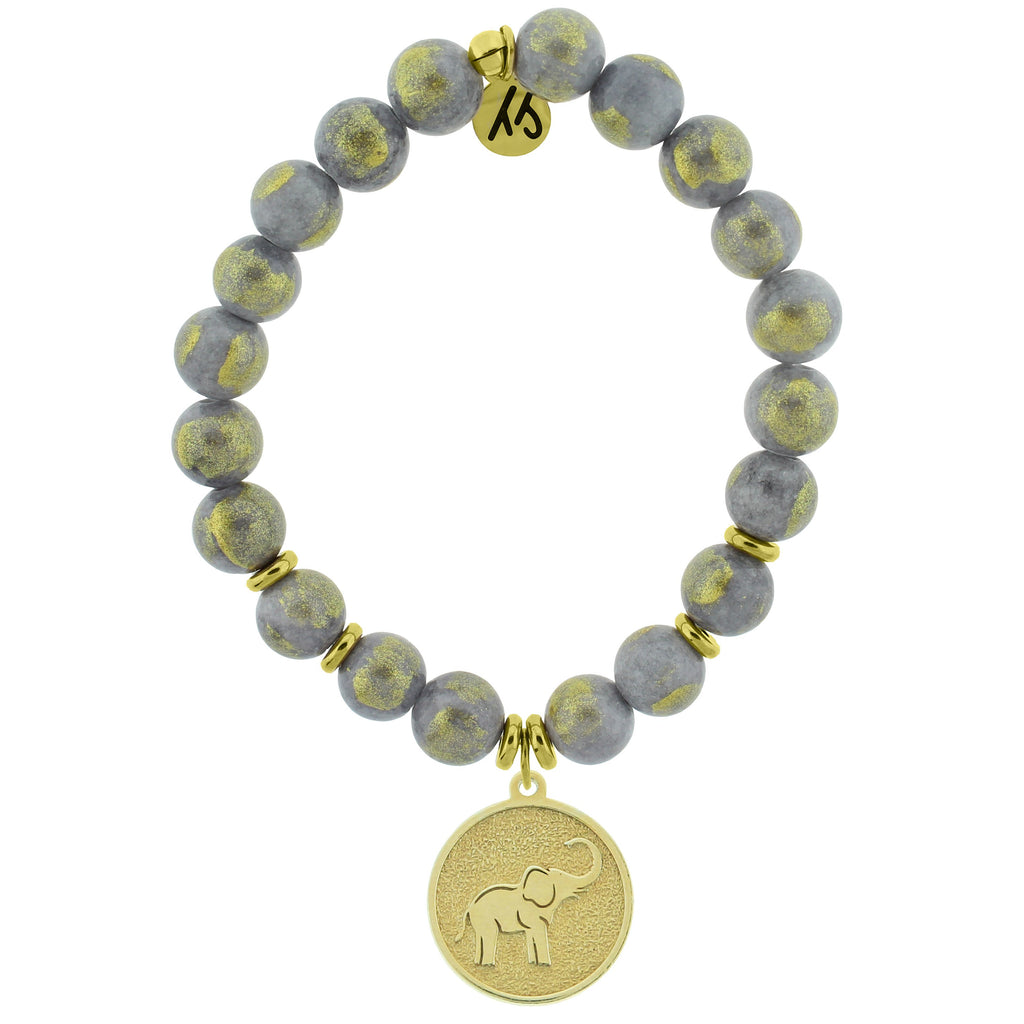 Gold Collection - Golden Grey Jade Stone Bracelet with Lucky Elephant Gold Charm