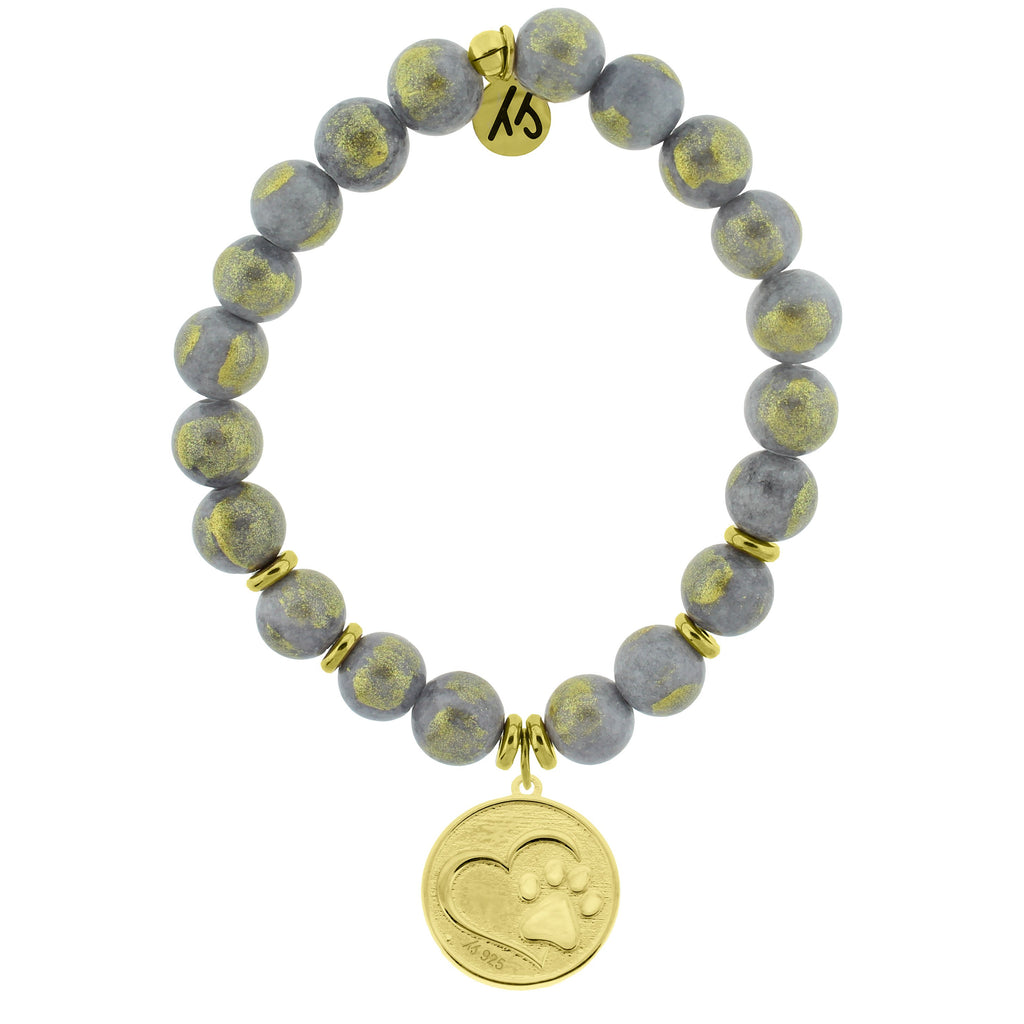 Gold Collection - Golden Grey Jade Stone Bracelet with Paw Print Gold Charm