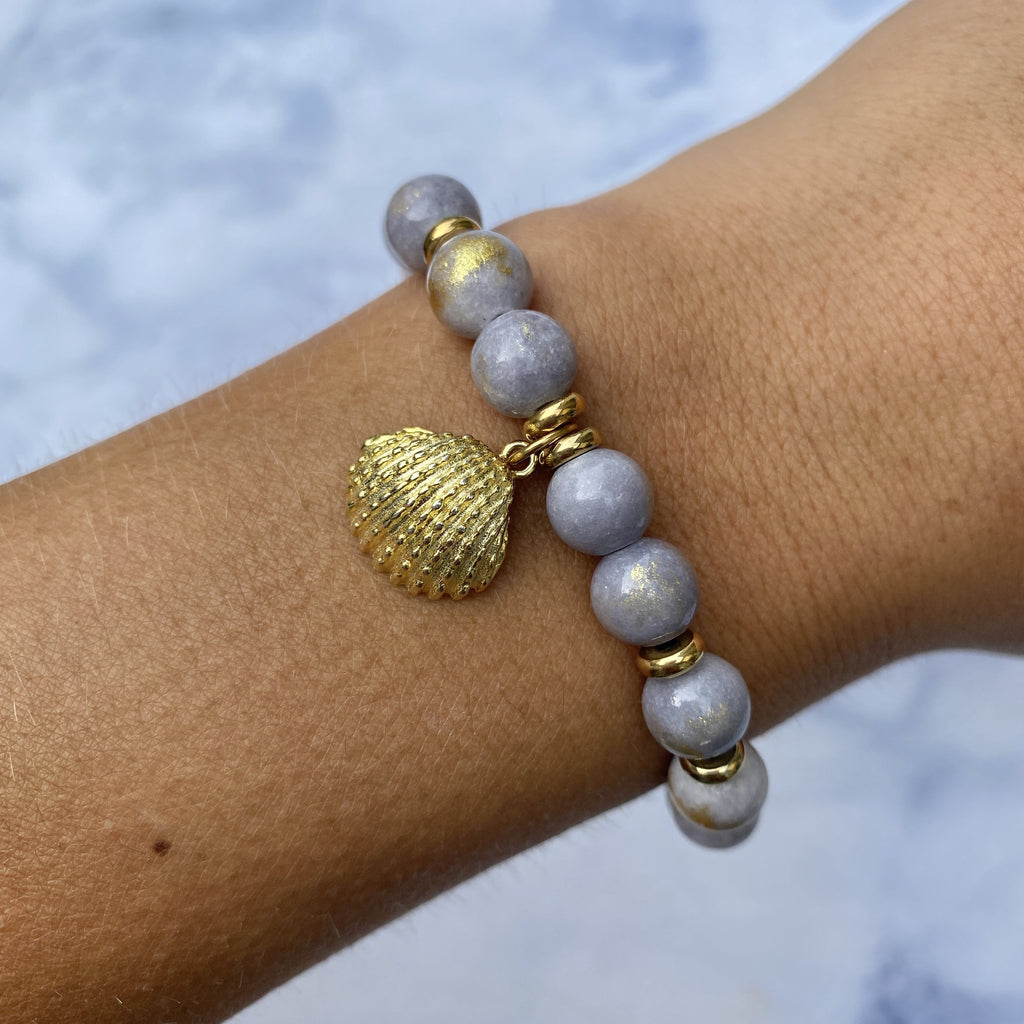 Gold Collection - Golden Grey Jade Stone Bracelet with Seashell Gold Charm