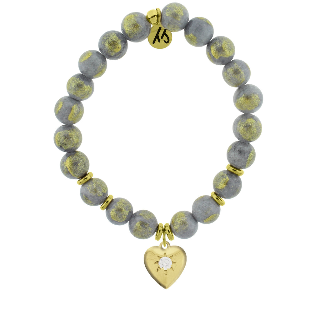 Gold Collection - Golden Grey Jade Stone Bracelet with Self Love Gold Charm