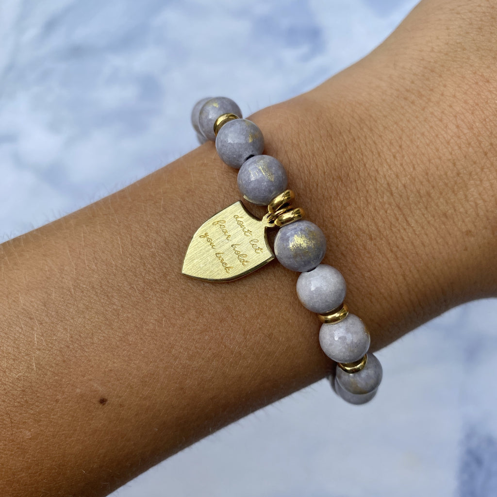 Gold Collection - Golden Grey Jade Stone Bracelet with Shield of Strength Gold Charm