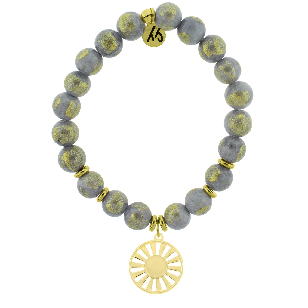 Gold Collection - Golden Grey Jade Stone Bracelet with Sun Gold Charm