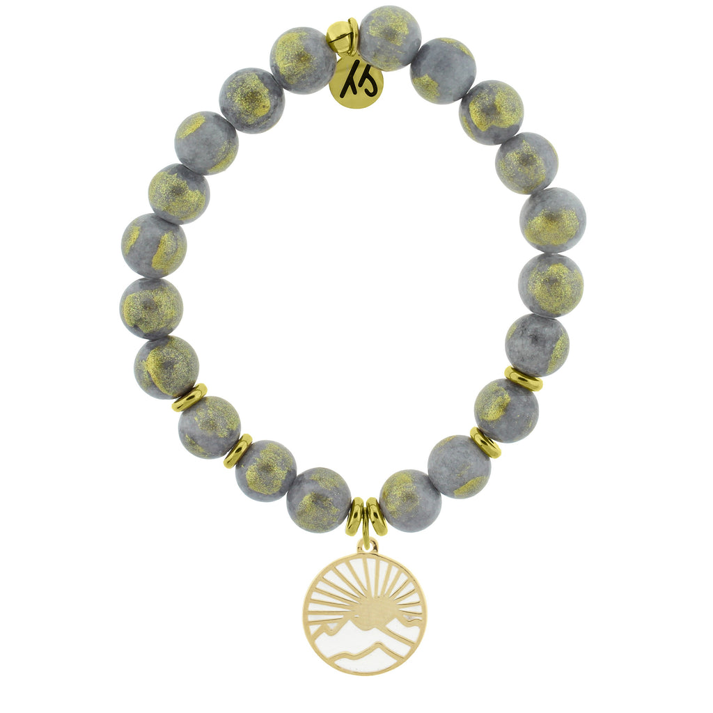 Gold Collection - Golden Grey Jade Stone Bracelet with Sunrise Gold Charm