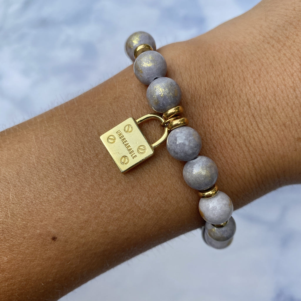 Gold Collection - Golden Grey Jade Stone Bracelet with Unbreakable Gold Charm